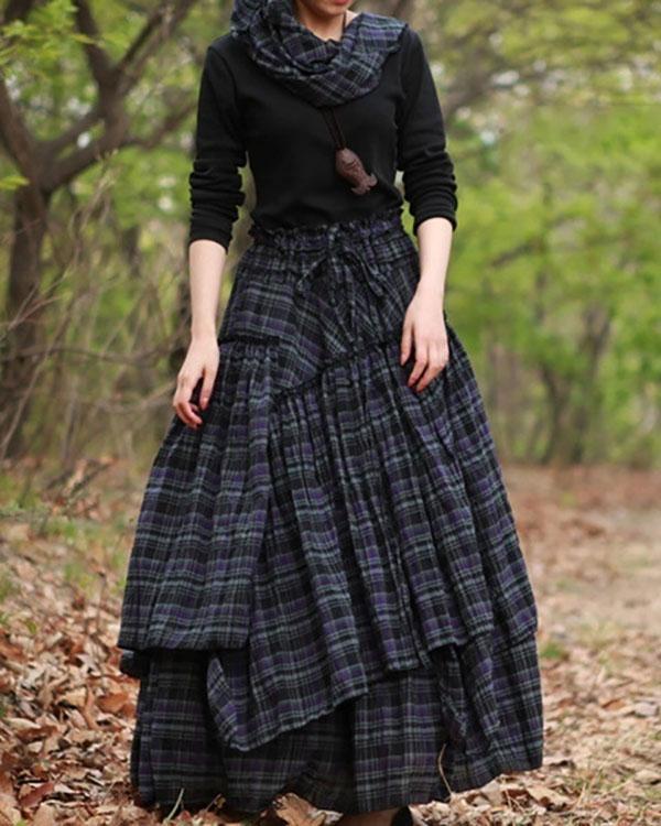 Plaid Skirts Cotton-Blend Long Skirts for Women
