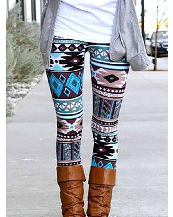 Vintage Print Leggings For Women