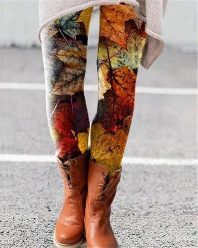Colorful Leaves Print Leggings Casual Milk Fabric Pants