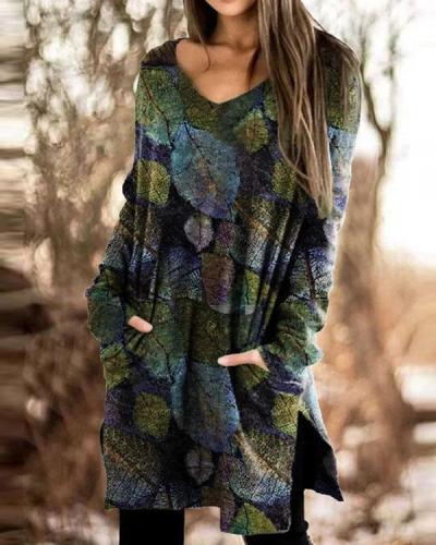 V Neck Long Sleeve Floral-print Casual Shirts & Tops