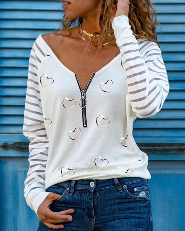 Casual Heart Print Zipper V Neck Shirts&Tops