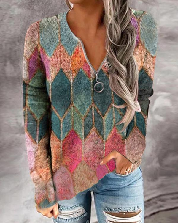 Casual V-Neck Printed Zipper Sweater