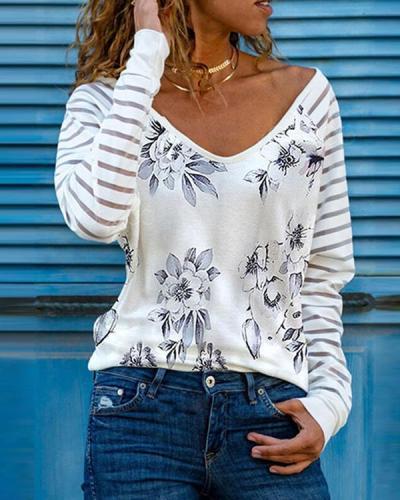 Casual Print V Neck Long Sleeve Shirts&Tops