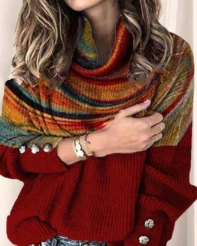 Color Block Printing Turtleneck Casual Sweaters
