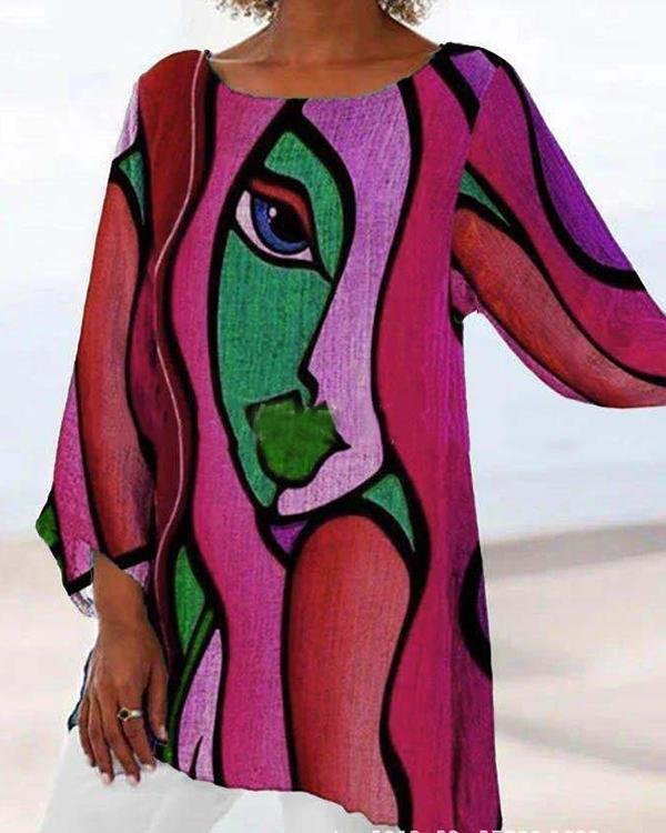 Color Block Figure Printed Long Sleeve Casual Crew Neck Shirts & Tops