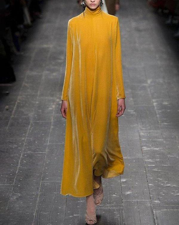 High End High Neck Long Casual Dress