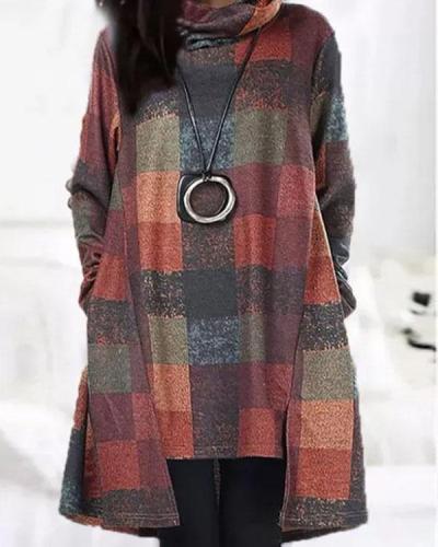 Vintage Plaid Turtleneck Irregular Mini Dress