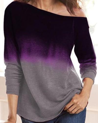 Color Block Casual Oblique Neckline Long Sleeve Blouses
