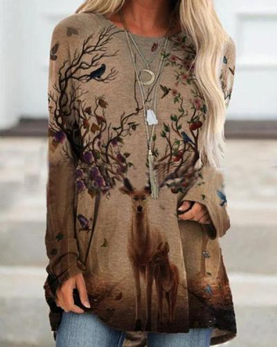 Elk Print Long Sleeve O-neck Casual T-shirt for Women
