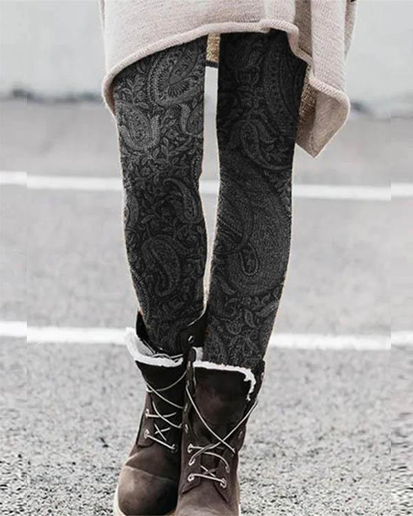 Boho Vintage Print Leggings Casual Milk Fabric Pants