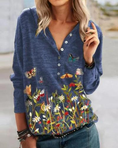 Print Button Casual V-Neckline Long Sleeve Hooded Blouses