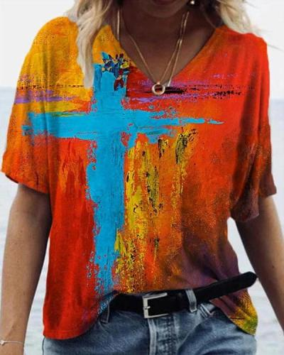 Graffiti Cross Painting Print T-shirt