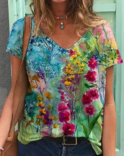 Women Casual Shift Colorful Flower Painting V Neck T-shirt