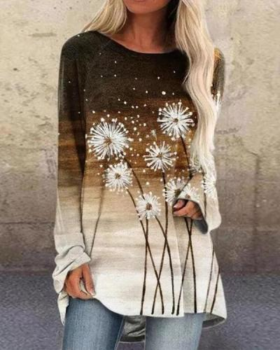Floral Print Ombre Long Sleeve O-neck Casual T-shirt for Women