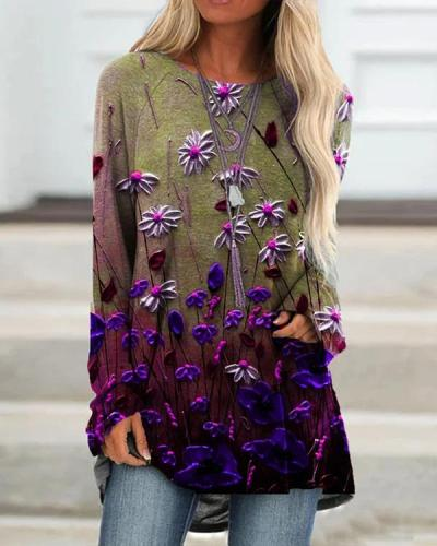 Floral Print Ombre Long Sleeve Casual Shirts&Tops