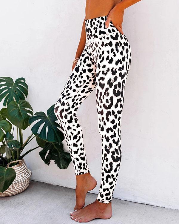 Leopard Print Casual Sport Leggings For Women