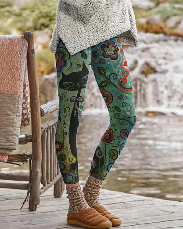 Cat Printed Leggings Casual Milk Fabric Pants