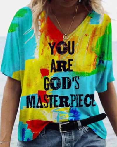 Graffiti Letter Print Short Sleeve T-shirt