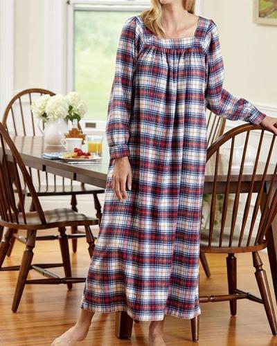 Women's Cute Portuguese Flannel Square Neck Nightgown