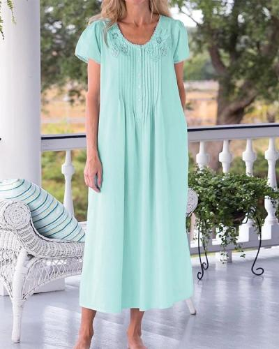 Lace And Floral Cotton Nightgown
