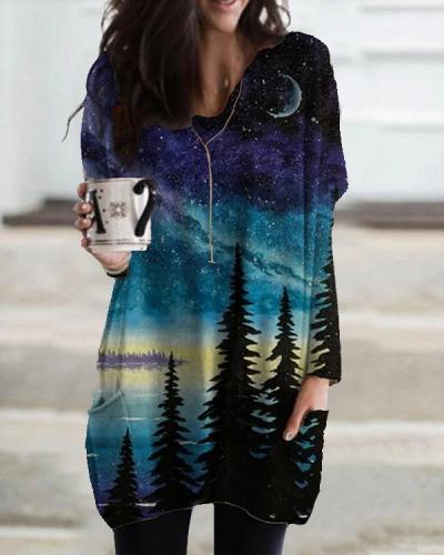 Nightsky Print Pocket Long Sleeve Casual T-shirt for Women