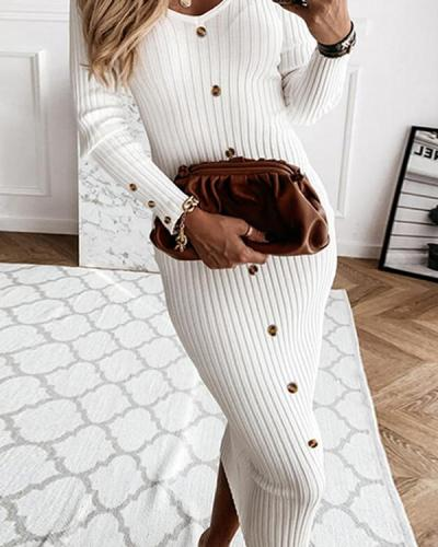 Solid Long Sleeves Bodycon Sweater Little Button Black/Casual Midi Dresses