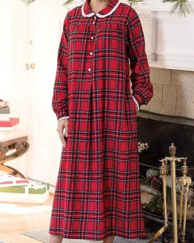 Classic Plaid Flannel Nightgown