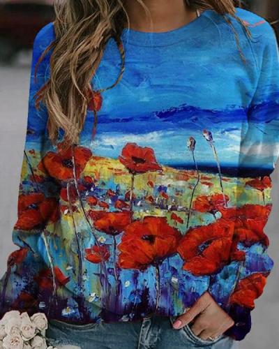 Holiday Floral Oil Painting Casual Shirts&Tops