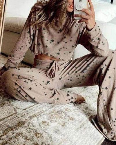 Casual Star Print Wide Leg Pants Suits&Loungewear
