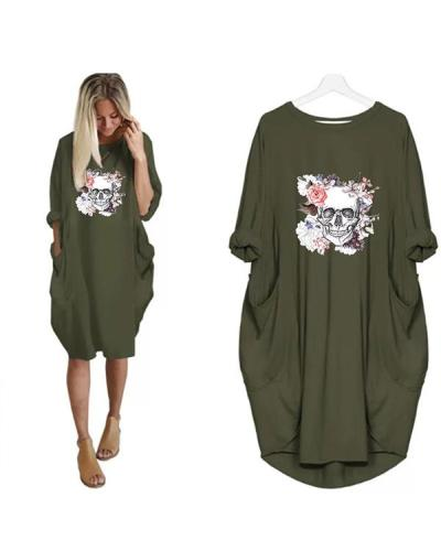 Women Skull Printed Casual Irregular Plus Size Dress