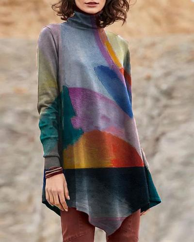 Vintage High Neck Oil Painting Print Irregular Long T-shirt for Women