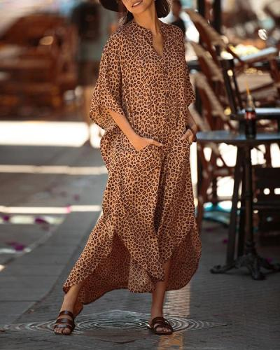 Leopard Pocketed Button Front Side Slit Sleeved Maxi Cover Up