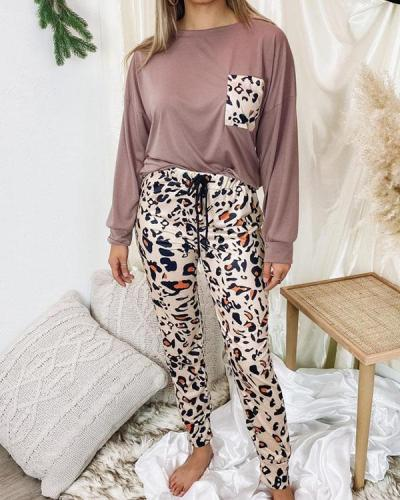 Leopard Print Casual Cotton Loungewear Women's Two Piece Sets