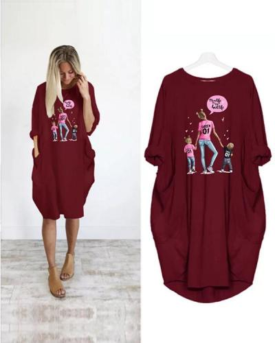 Super Mom Printed Loose Casual Irregular Plus Size Dress