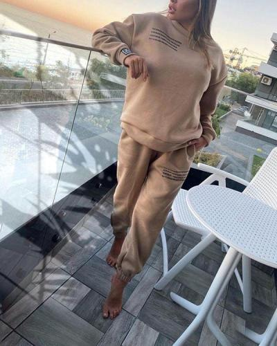 Women Sportswear 2 Pieces Sets Casual Long Sleeves Outfits