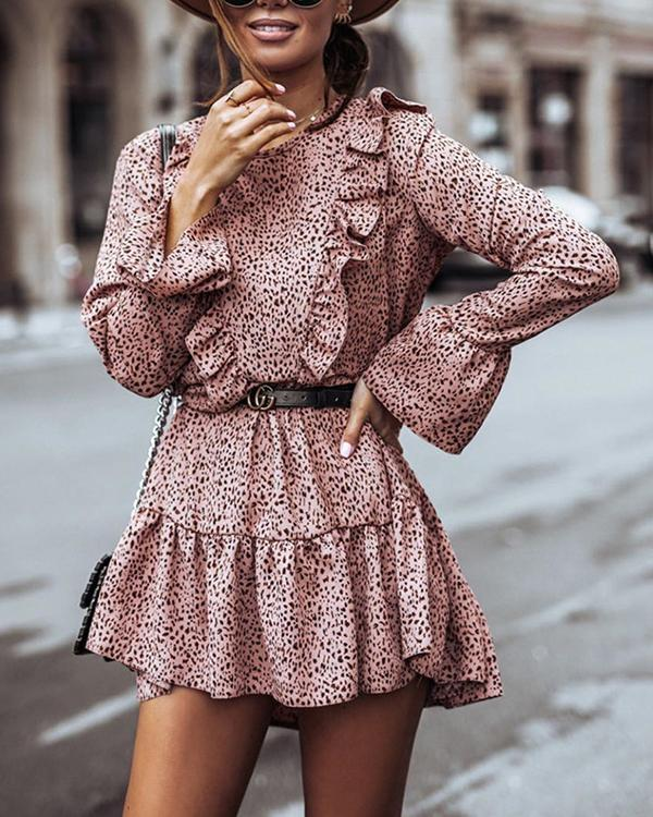 Leopard Printed Long Sleeve Mni Dress