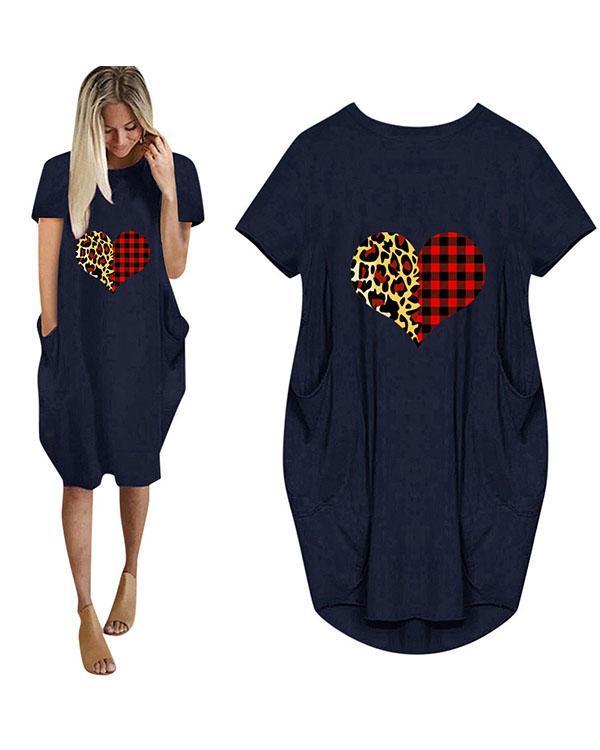Heart Printed Loose Casual Plus Size Short Sleeve Midi Dress