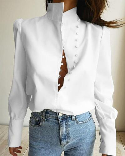 Women Vintage Stylish Button Shirts&Blouses