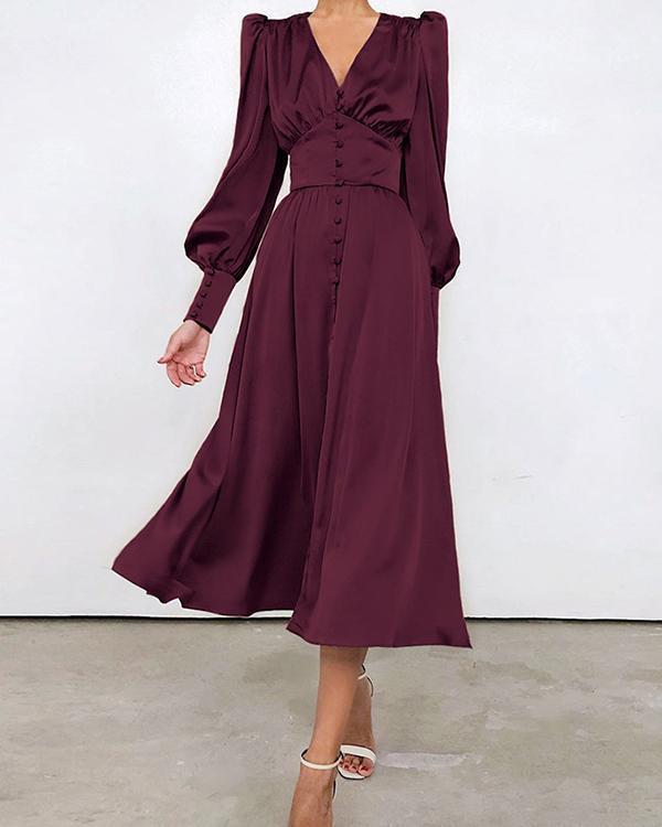 Spring Soft&Breathable Satin Ruched Dress Elegant Gowns