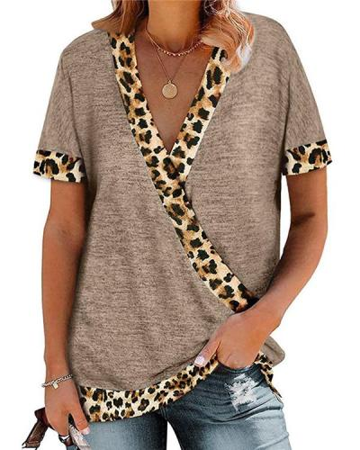 Leopard Printed Short Sleeve V Neck Shirt