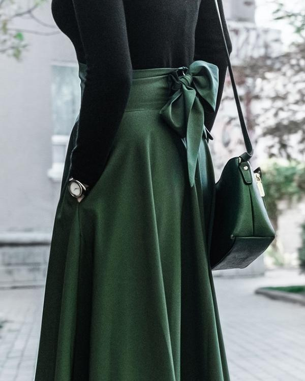 Casual High Waist Solid Color Bow Knot Flowy Skirt