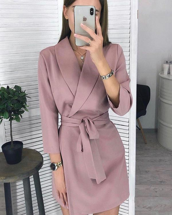 Solid/Stripe Long Sleeve Lace up Waist Blazer Dress