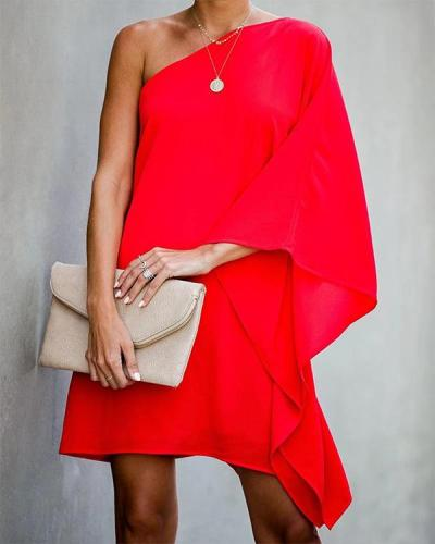 Solid Color Long Sleeve Chiffon Mini Dress