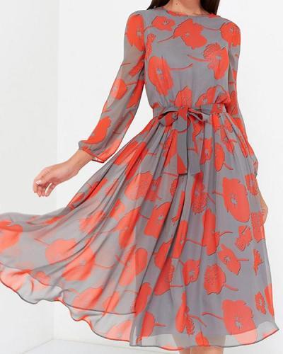 Elegant Chiffon Floral/Dot Print Long Sleeve Spring Women Dresses