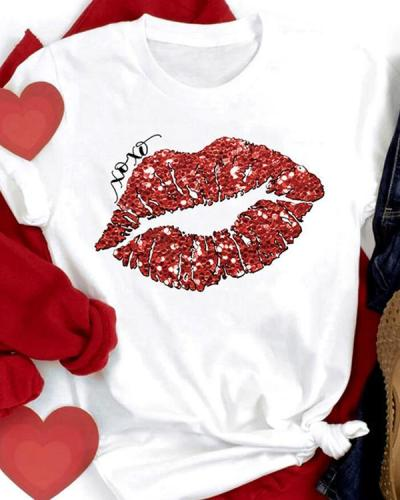 Cotton XOXO Lip Printed Casual Short Sleeves T-Shirt For Valentine's Day