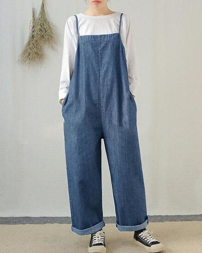 Women Sleeveless Wide Leg Cargo Pants Plain Casual Overalls Jumpsuit Romper