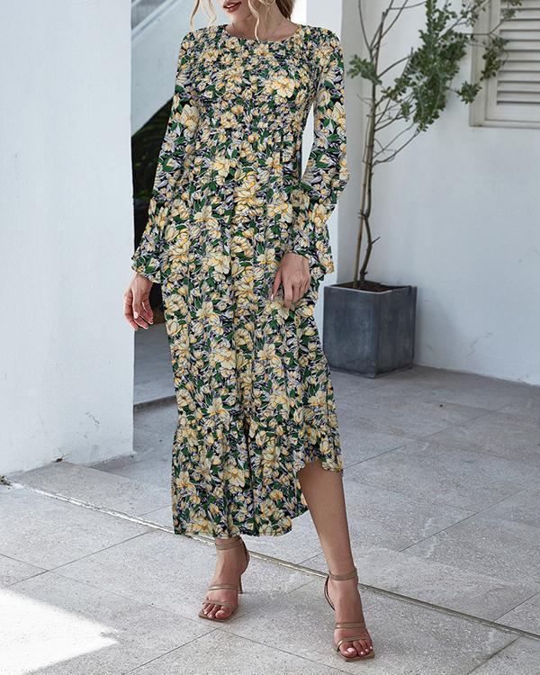 Floral/Dot Print Flare Sleeve A-Line Ruffle Hem Maxi Dress