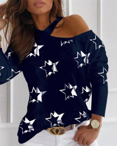 Star Print One-Shoulder Long Sleeves Casual Blouses