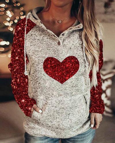 Women Print Love Heart Long Sleeves Hoodie