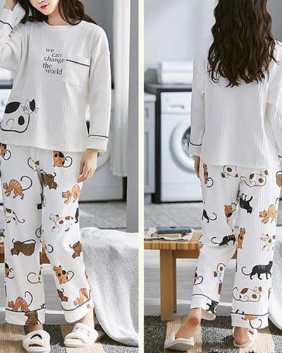 Cartoon Cat Letter Printed Round Neck Cute Long Sleepwear Sets